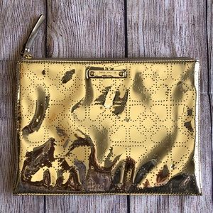 Kate Spade Gold Cosmetic Bag NWT Large Pouch Metro